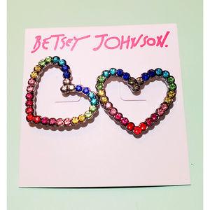 Betsey Johnson Rainbow Crystal Heart Earrings
